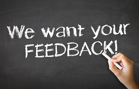 We want your feedback written on a blackboard