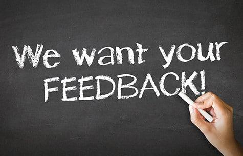 We want your feedback written on a blackboard