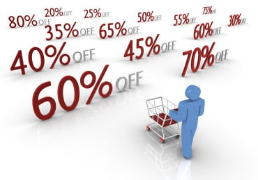 3-D figurane pushing a trolley towards 3-D discount values