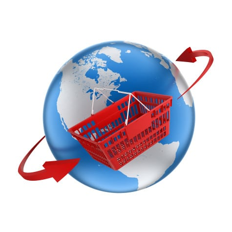 shopping basket travelling around globe