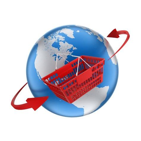 shopping basket travelling around globe