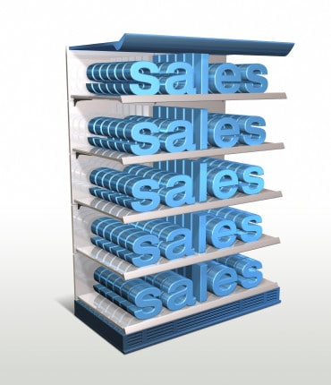 illustration of the word 'sales' on shelving unit