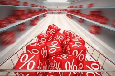 percentage cubes in a shopping trolley and on supermarket shelves