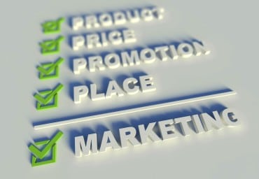 3-D representation of the 4 P's of marketing - promotion tracker