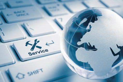 keyboard and globe representing international service