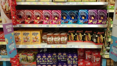 Supermarket shelves filled with chocolate Easter Eggs