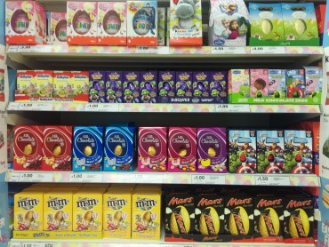 Chocolate Easter eggs on supermarket shelves