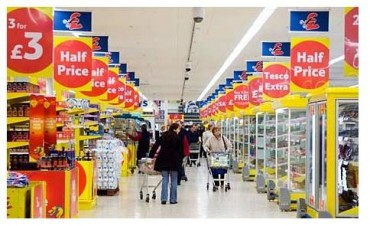 shoppers in Tesco supermarket