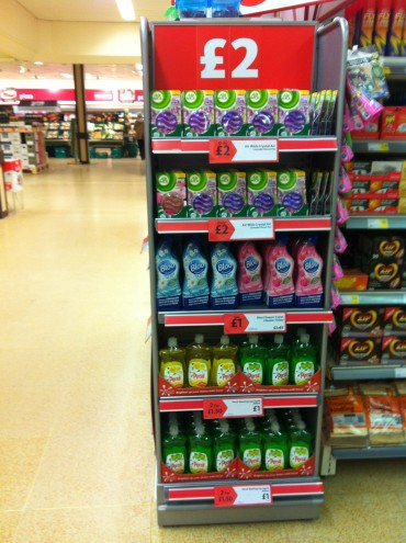 instore promotional stand of cleaning products