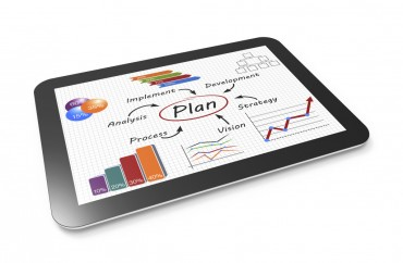 Business plan diagram on a tablet