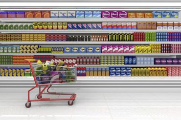 Supermarket Aisle with Trolley